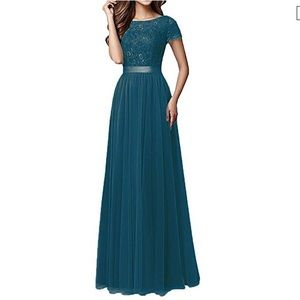 Teal Bridesmaid Tulle Lace Dress